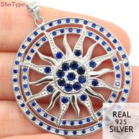 SheType 11.1g Sublime Antique Sun God Tanzanite Gift For Man 925 Solid Sterling Silver Pendant 44x26mm
