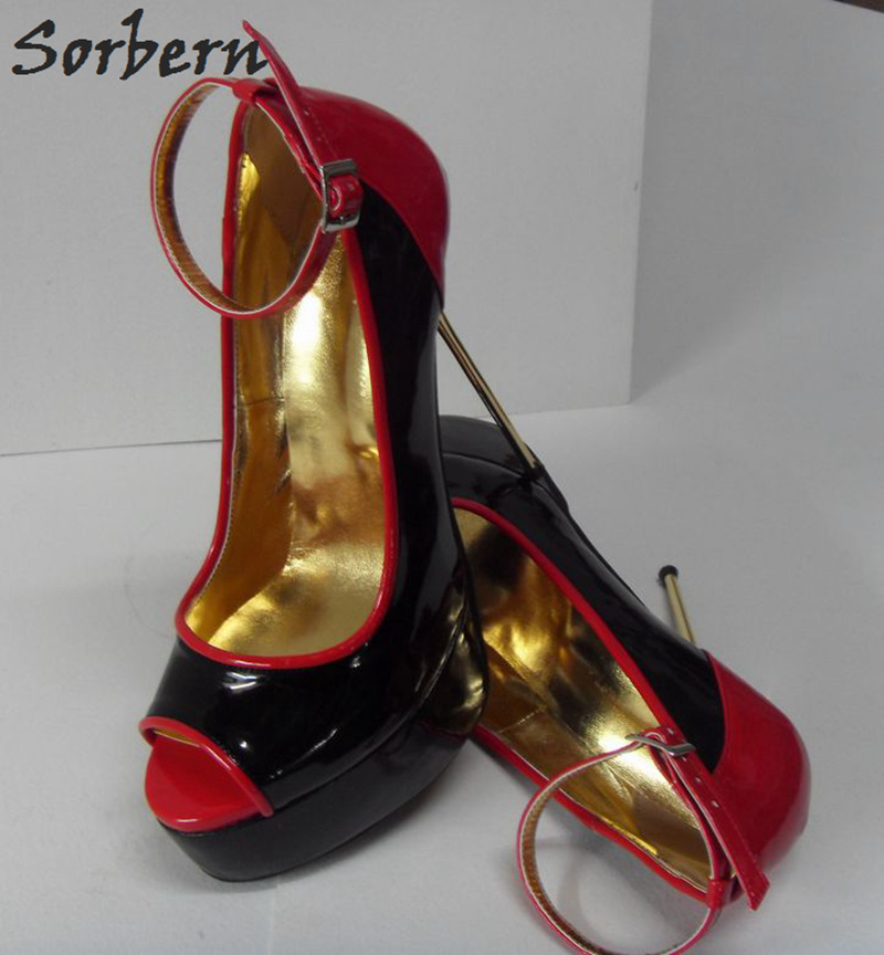 Sorbern 2018 Women Pumps Black With Red Patent Leather Buckle Strap Ladies Party Pumps Peep Toe Cosplay Pumps Shoes 16cm Heels lasyarrow brand shoes women pumps 16cm high heels peep toe platform shoes large size 30 48 ladies gladiator party shoes rm317