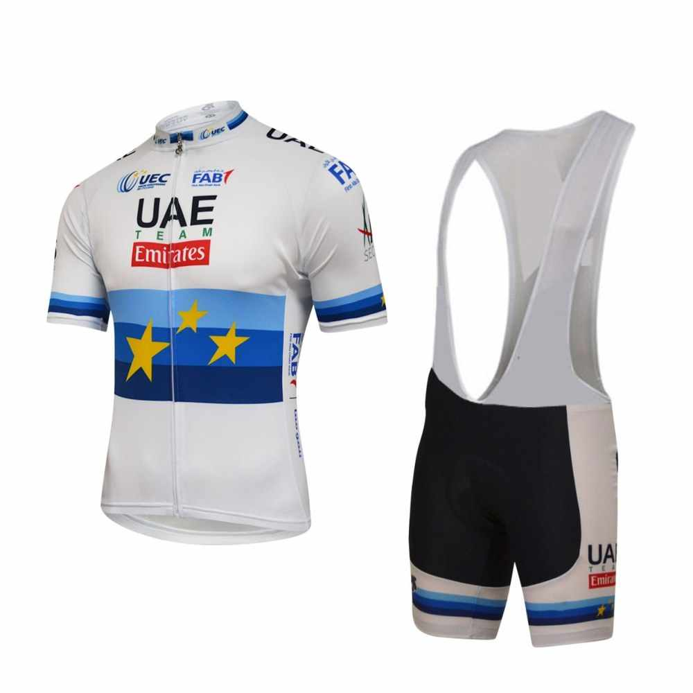 2018 EUROPEAN CHAMPION pro team uae cycling jersey kits summer bike cloth  MTB Ropa Ciclismo Bicycle 009d8f324
