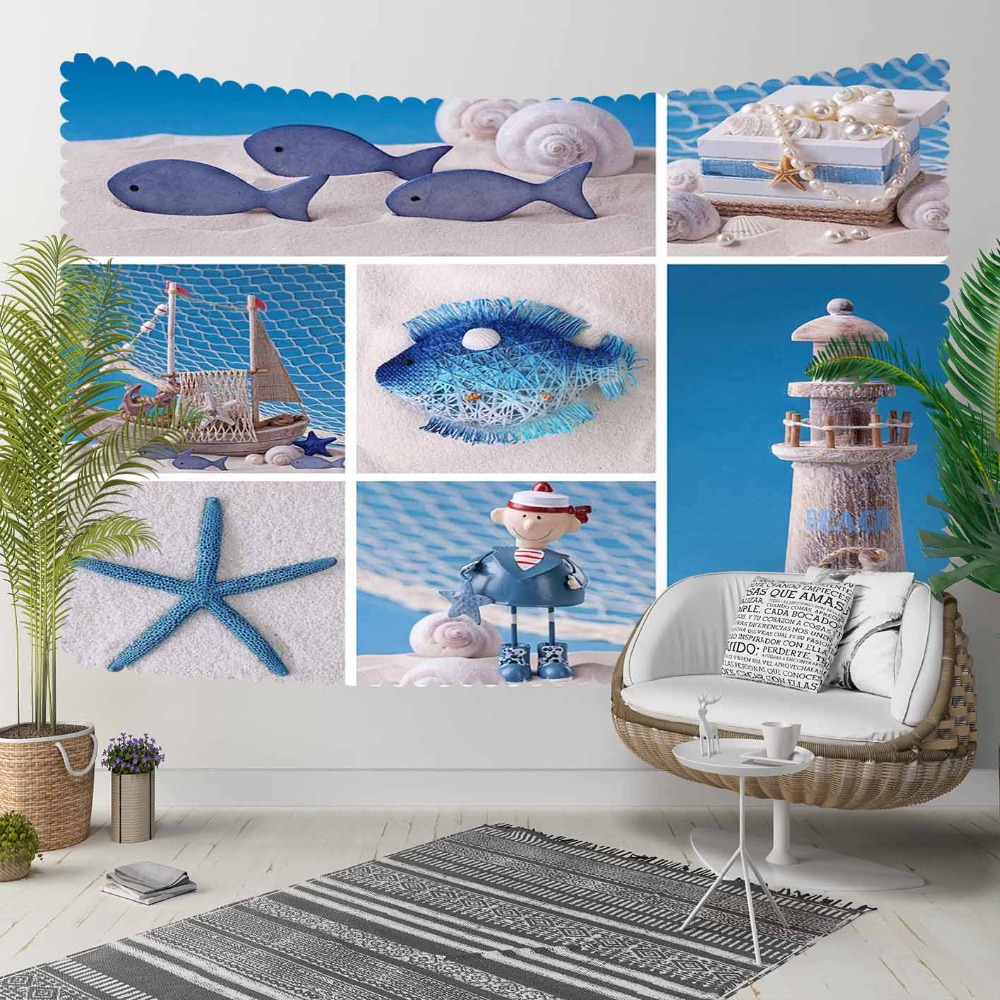 Else Blue White Patchwork Lighthouse Sailor Fishes 3D Print Decorative Hippi Bohemian Wall Hanging Landscape Tapestry Wall Art