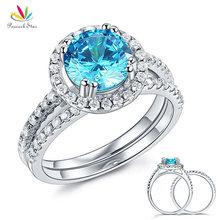 цена на Solid 925 Sterling Silver Wedding Engagement Halo Ring Set 2 Carat Fancy Blue Created Diamond Wedding Jewelry CFR8219
