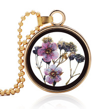 UBEAUTY Women Jewelry Collares Dried Flowers Glass Necklace&Pendant Gold Vintage Long Chain Necklace Summer Fine Jewelry
