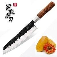 NEW 2019 Grandsharp Handmade Chef Knife Japanese Kitchen Knives Kiritsuke PRO Slicing Cooking Tools African Wood Handle Gift Box