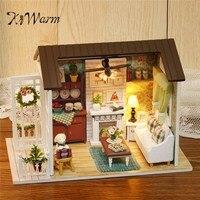 KiWarm Happy Times Wood Dollhouse Miniature LED Light Assembled Home Room Set DIY House Handicraft Toy Idea Gift Ornament
