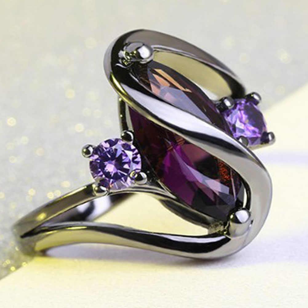 Модные Розовые обручальные Обручальные кольца для женщин конский глаз Cz черный покрытый золотом Праздничная бижутерия с кольцами женское кольцо Anillos