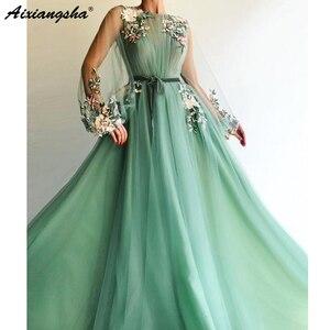 Image 2 - ILLUSION แขนยาว Tulle A Line Mint สีเขียว Dresses 2019 Applique ดอกไม้ vestidos de Festa Longo ชุดราตรีอย่างเป็นทางการ