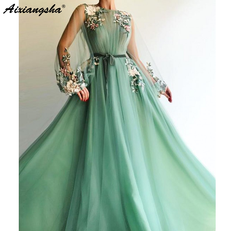 Image 2 - Illusion Long Sleeve Tulle A Line Mint Green Prom Dresses 2019 Applique Flowers vestidos de festa longo Formal Evening Dress-in Evening Dresses from Weddings & Events