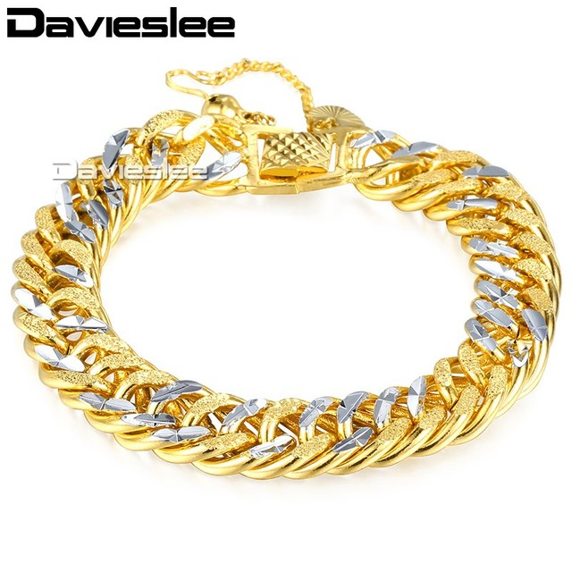 Davieslee Mens Silver Gold Bracelet Chain Hammered Heavy Curb Cuban Double  Link Wholesale Hip Hop Jewelry 11mm LGB192 fad95529a