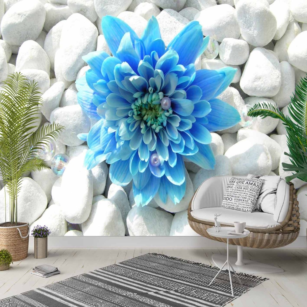 Else Big Blue Flowers On White Pebble Stones 3d Photo Cleanable Fabric Mural Home Decor Living Room Bedroom Background Wallpaper