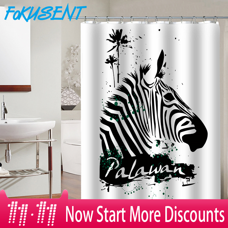 FOKUSENT Printed Color Watercolor Black and White Stripes Zebras Waterproof Shower Curtains 59x71 Inches Home Decor zwbra shower curtain