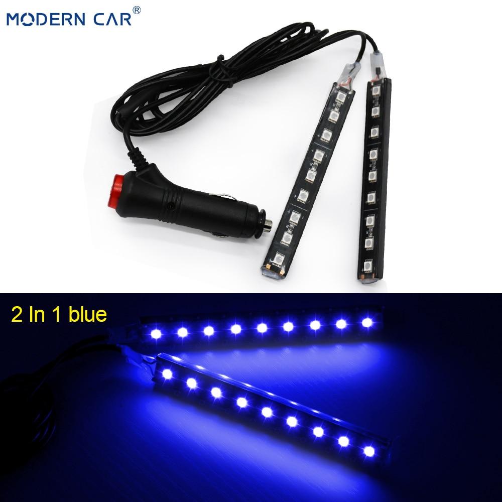 Современный автомобильный 9 светодиодный 2/4 в 1 интерьерный 5050 атмосферный свет тире пол ноги полосы света адаптер прикуривателя декоративная лампа - Испускаемый цвет: 2 In 1 Blue