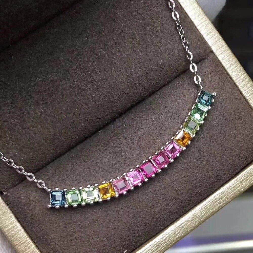 KJJEAXCMY boutique juwelen 925 sterling silber eingelegte natürliche edelstein turmalin dame Halskette Anhänger unterstützung erkennung qwerju-in Anhänger aus Schmuck und Accessoires bei  Gruppe 3