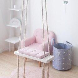 1 قطعة خشبية أرجوحة داخلي صغير سلة طفل يتأرجح أرجوحة معلقة كرسي كنيتيد طفل الروضة حديقة أرجوحة للأطفال