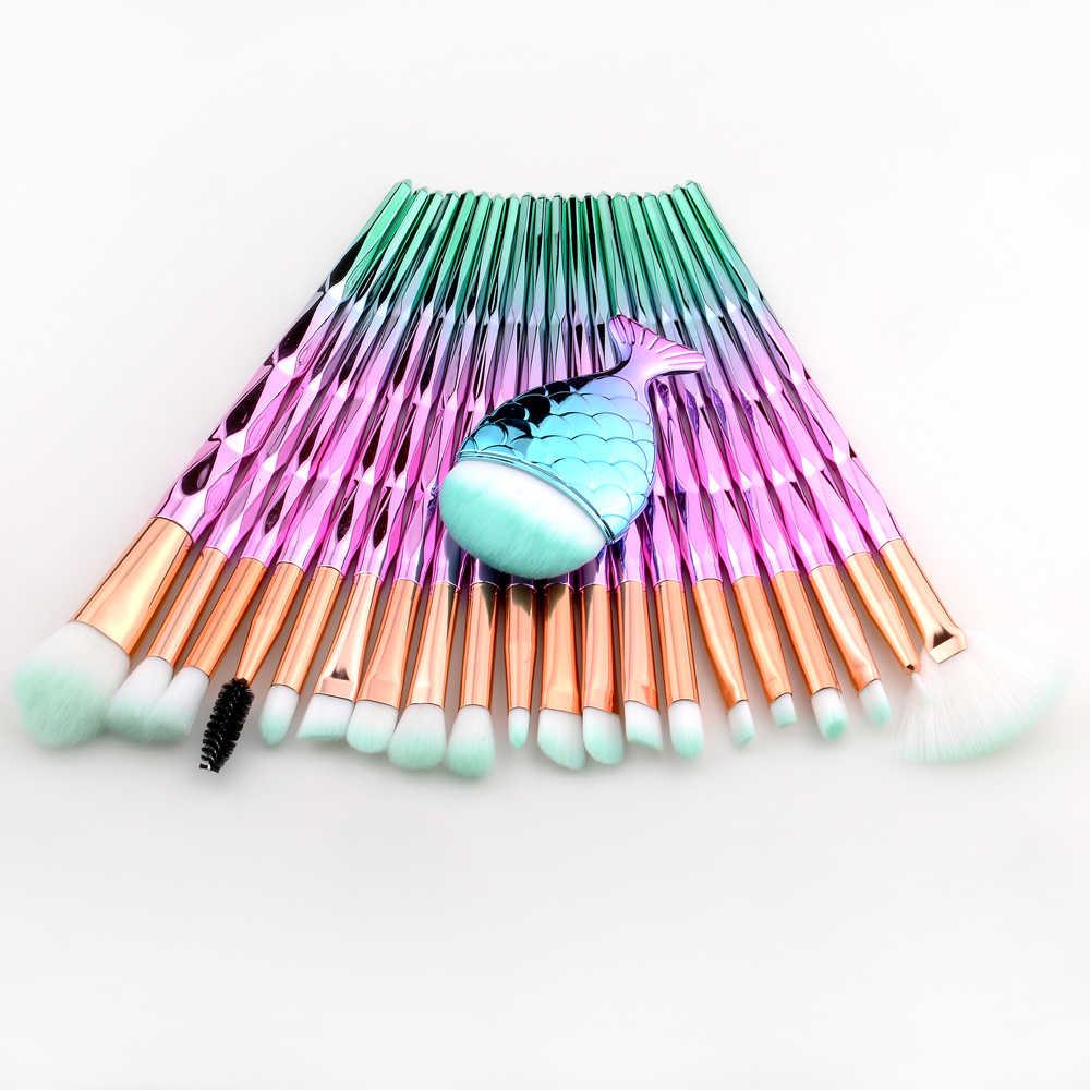 FLD 21 pièces Sirène Ombre À Paupières Eyeliner Cils Maquillage Brosses Ensemble kits Sourcils Professionnel Cosmétique Brosse Pour Les Yeux