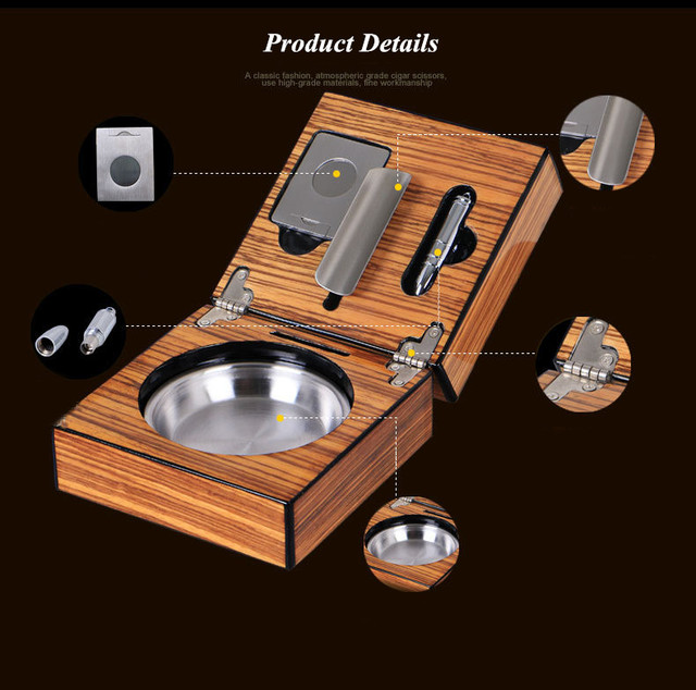 Portable Mirage Black Folding Stainless steel Smoke Slot Solid Wood Cigar Ashtray