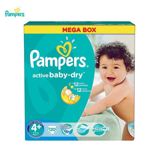 Подгузники PAMPERS Active Baby Maxi Plus 9-16 кг Mega 120