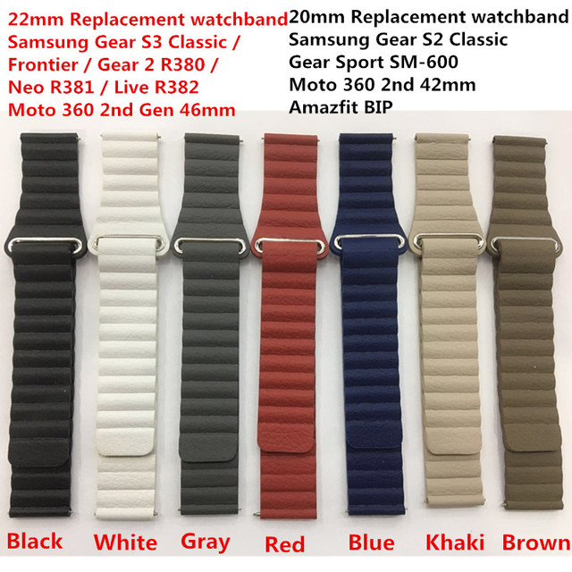 20MM/22MM Genuine Leather Watchband Magnetic Clasp Strap for Samsung Gear Sport