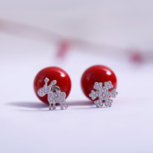 Jinwateryu fashion jewelry 925 sterling Silver Stud Earrings for women Christmas snowflake deerlet with red pearl earrings