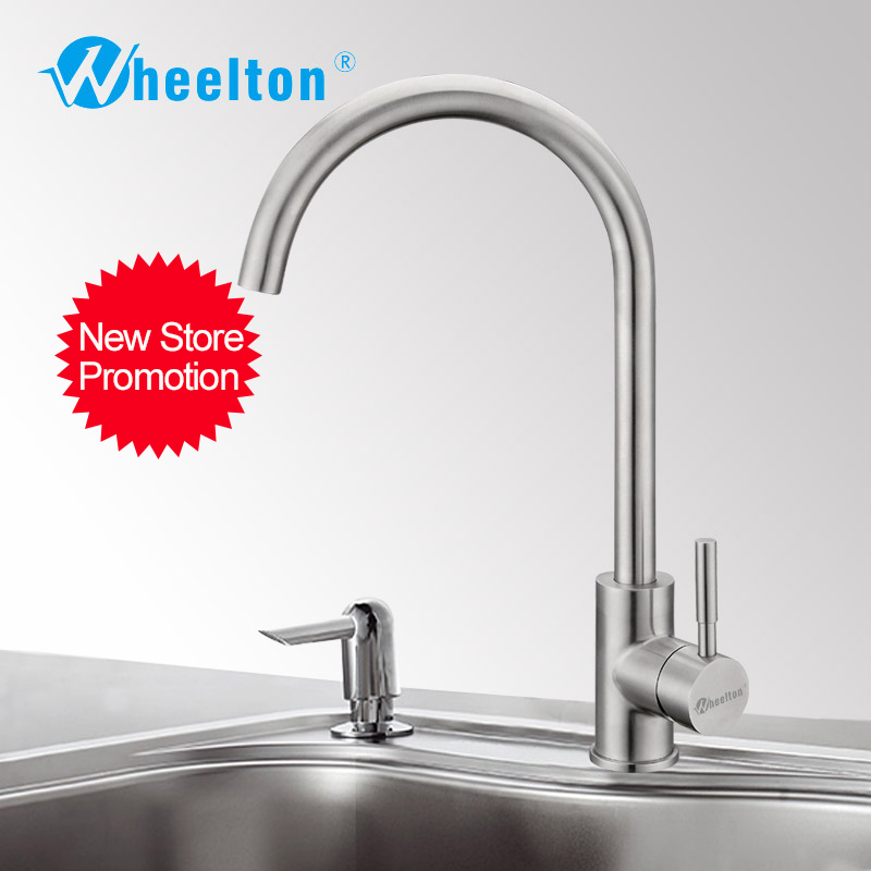 Wheelton Kitchen Faucet Stainless Steel 360 Swivel Tap Single Handle All For Kitchen Mixer-Silver,Circular Shape Freeshipping 021 multifunction s shape outdoor camping kitchen stainless steel hanging hooks silver 6 pcs