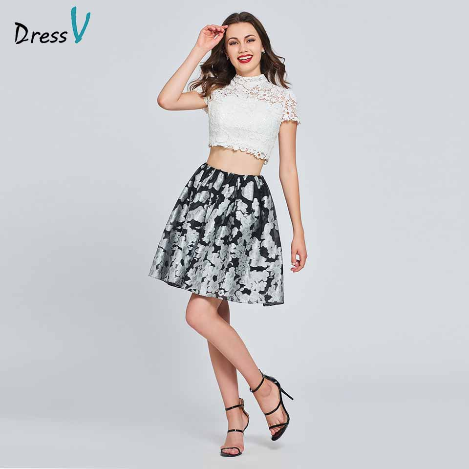 Dressv two pieces gowns a line homecoming dress high neck cap sleeves button lace print homecoming&graduation dresses