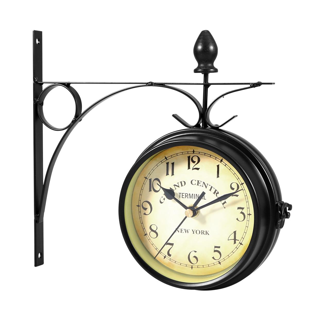 De style européen À double face Horloge Murale Creative Classique Horloges Monochrome