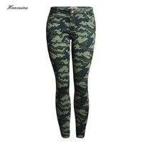 Hancuinu Women S S 5XL Plus Size Fashion Army Green Skinny Jeans Female Camouflage Cropped Pencil