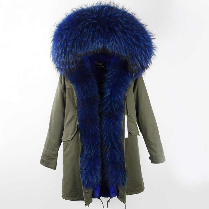 2019 جديد الأزياء معطف الفرو للشتاء مع كبير الراكون الفراء طوق فو بطانة معطف للنساء الشتاء معطف بركة (سترة من الفراء بقبعة للقطب الشمالي) شحن مجاني أعلى العلامة التجارية