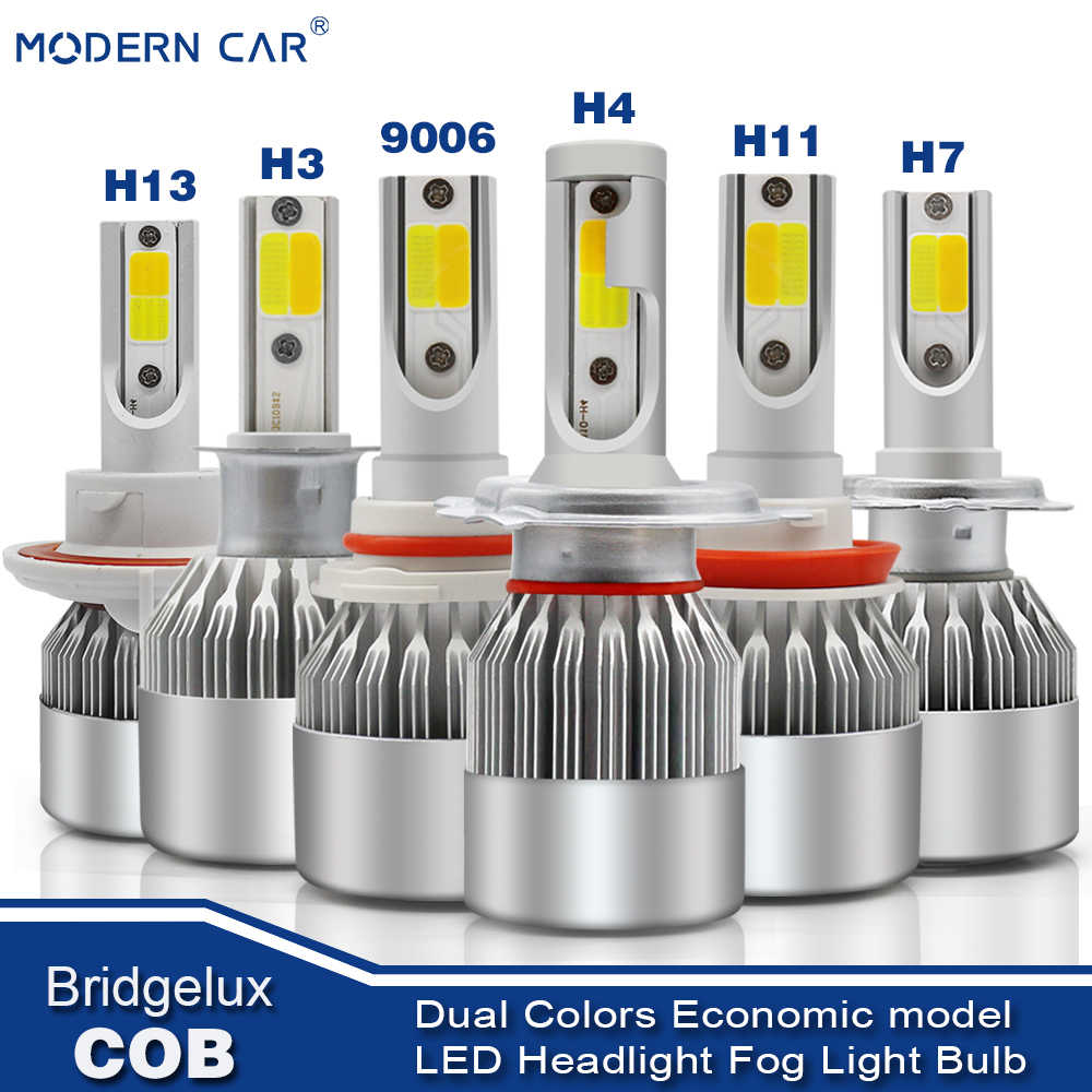MODERN CAR 8000LM Dual Color Fog Lamp Bulbs COB LED Headlights White Amber Hi/Lo Auto Car Headlamp Bulb H7 H11 H4 9005 9006 9012