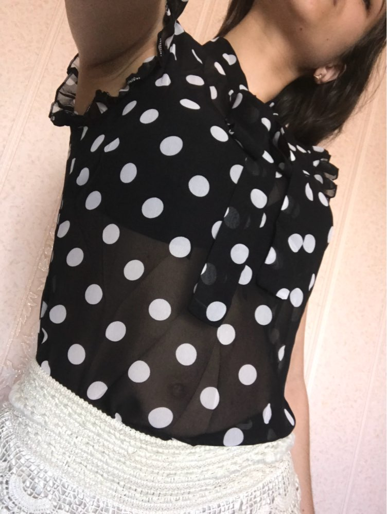 SHEIN Ruffle Tied Neck Bow Polka Dot Blouse Women Stand Collar Sleeveless Sexy Top 2018 Summer Sheer Night Out Blouse
