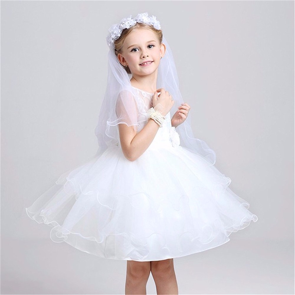 Dziewczęce welony komunijne Opaska biała wianek kwiatowy wesele z - Odzież dla niemowląt - Zdjęcie 4