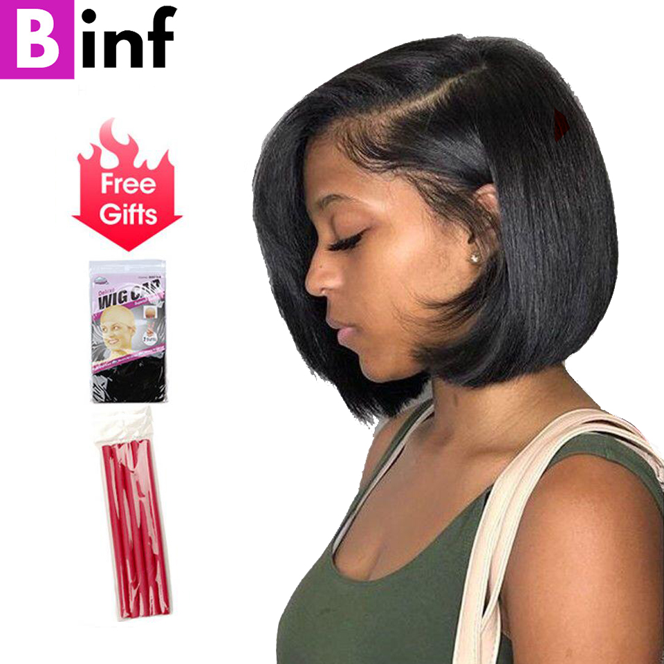 BINF Indian Short Bob Lace Front 100 Human Hair Wigs Straight Hair 150 Density Remy Hair