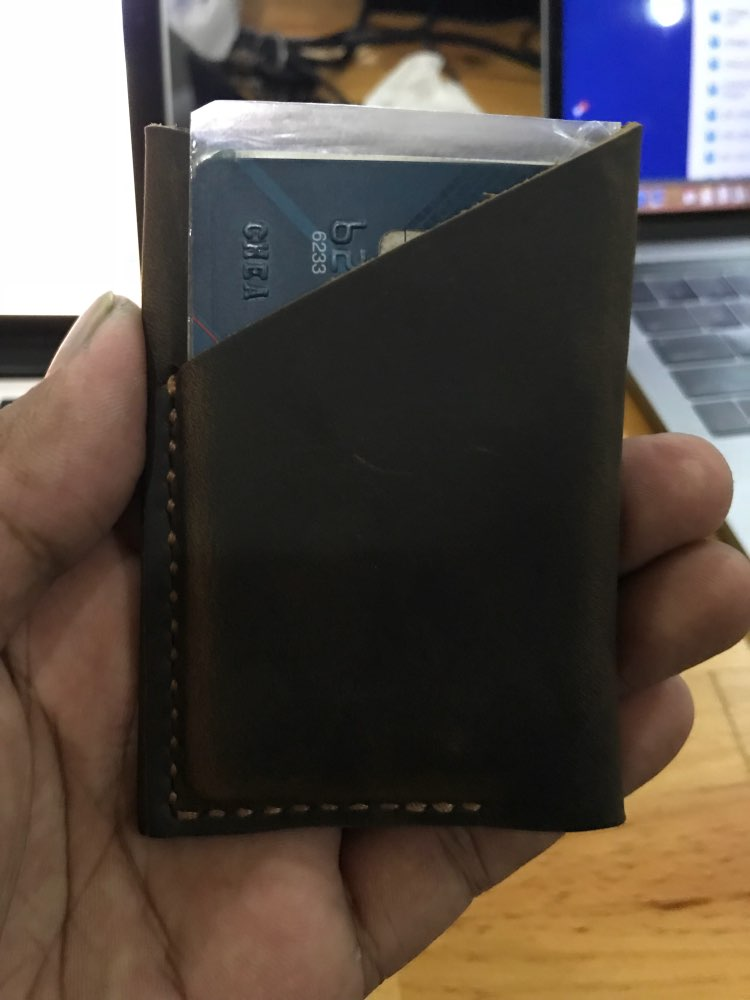 Genuine Leather Bank Card Holder Credit Card Case Handmade Crazy Horse Wallet For Cards Case to Protect Credit Cards photo review