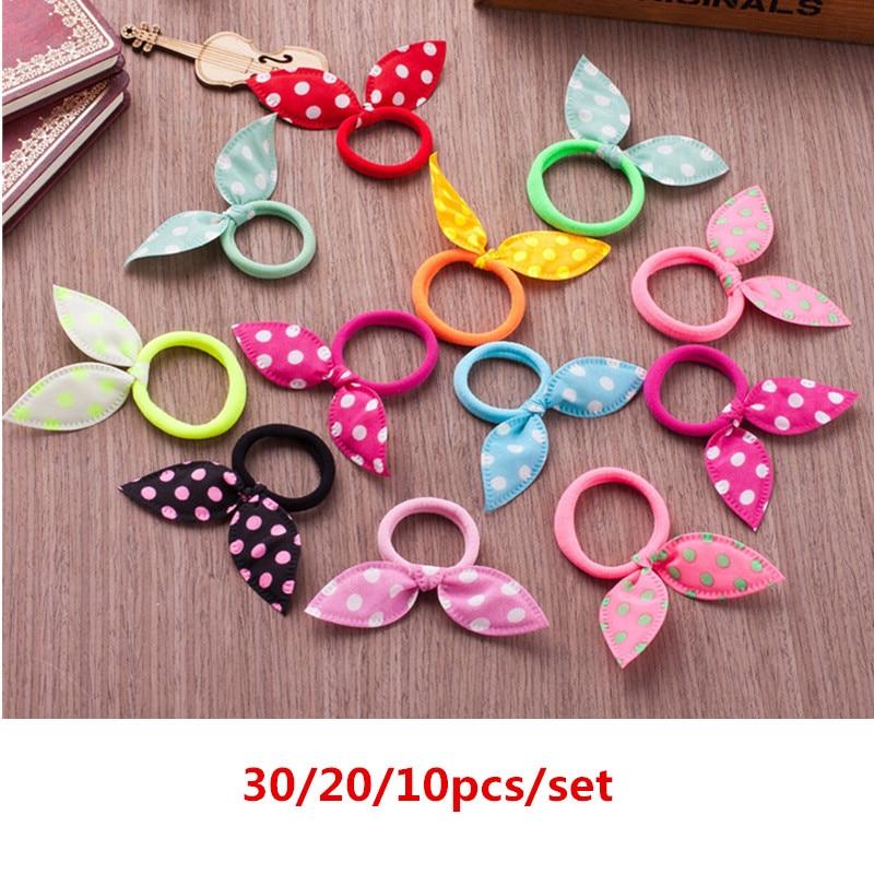 30/20/10 Pcs Women Girls Bunny Ears Scrunchie Hair Rope Cute Hair Tie Bows Elastic Ponytail Holder Hair Bands Hair Accessories