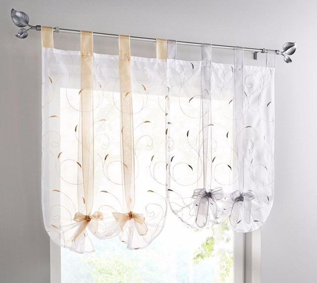 Superbe Kitchen Short Curtains Jacquard Roman Blinds Floral White Sheer Panel Blue  Tulle Window Treatment Door Curtains