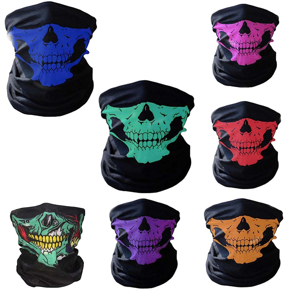 2018 New Fashion Style Ghost Scarf Black Skull Half Face Skeleton Motorcycle Scary Horror Party Halloween Mask Gifts