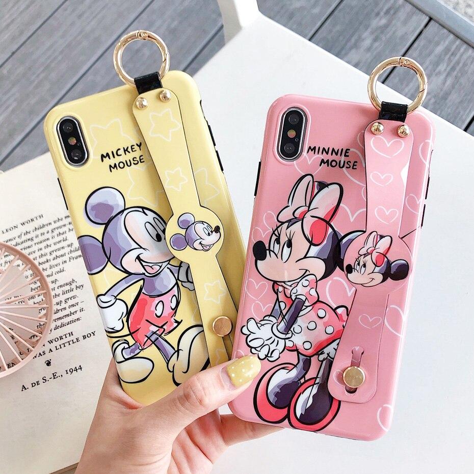 Funda de Mickey Minnie Mouse para iPhone 8, 7, 6, 6 S Plus bonita funda de teléfono con correa de muñeca de dibujos animados para iPhone XR X XS X Max caso