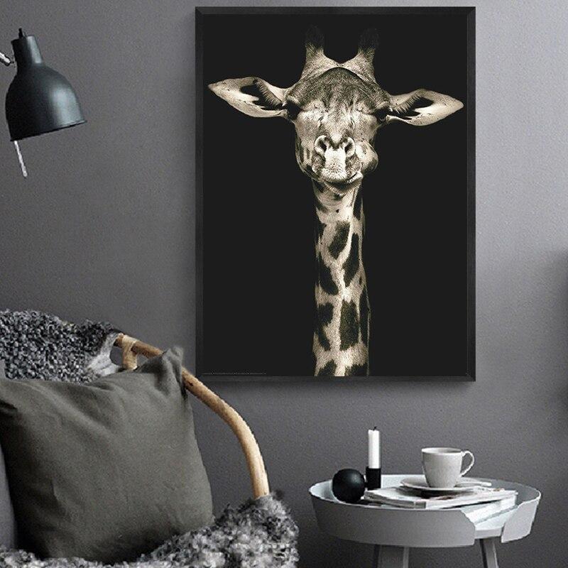 En Cok Satan Hayvan Tuval Boyama Siyah Ve Beyaz Zurafa Duvar Sanat