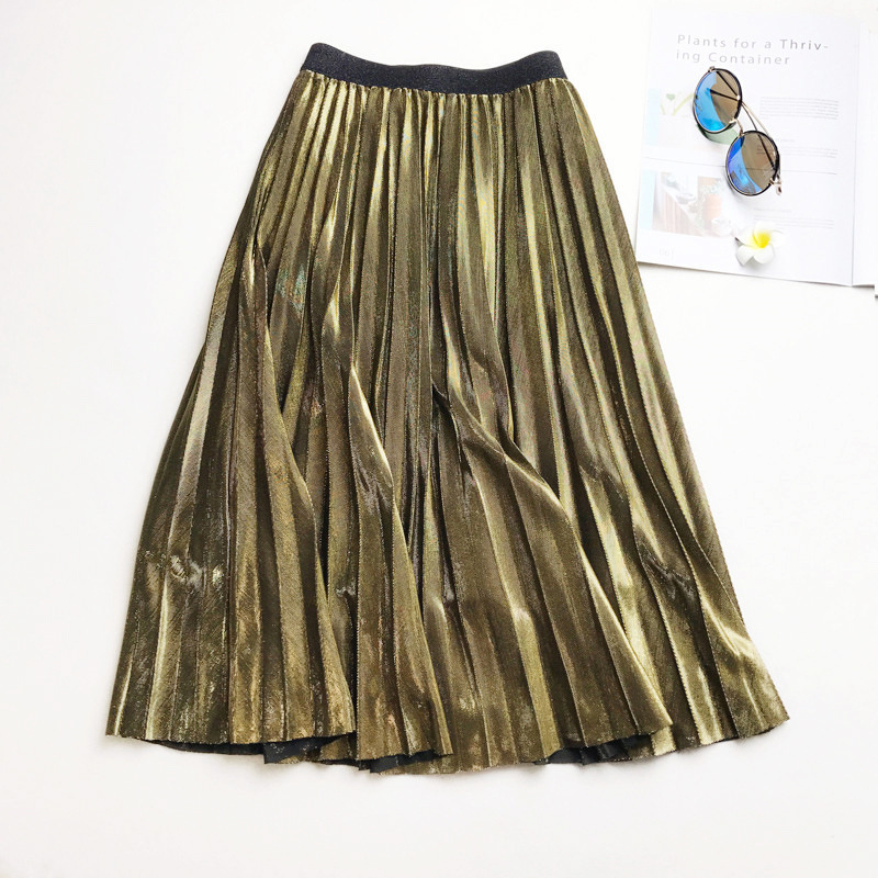 2019 Summer Fashion Vintage Silver Golden Metal Casual Solid Midi Skirt High Waist Long Pleated Skirts For Women Ladies Black