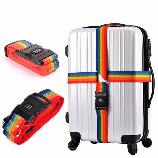 96b20c3dbdd9 US $4.95 |Password Lock Adjustable Luggage Strap Protective Nylon Travel  Luggage Accessories Luggage Suitcase Straps Baggage Rainbow Belt-in Travel  ...