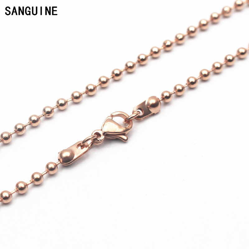 1pcs/lot 30 Inches Stainless Steel Floating Locket Chains Rose Gold Ball Chain Necklace For Women Long Necklace DIY Jewelry