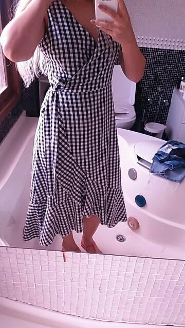 Sheinside Plaid Tie Waist Asymmetrical Ruffle Dress Women V Neck Sleeveless High Low Dress 2018 Summer Ladies Elegant Dress