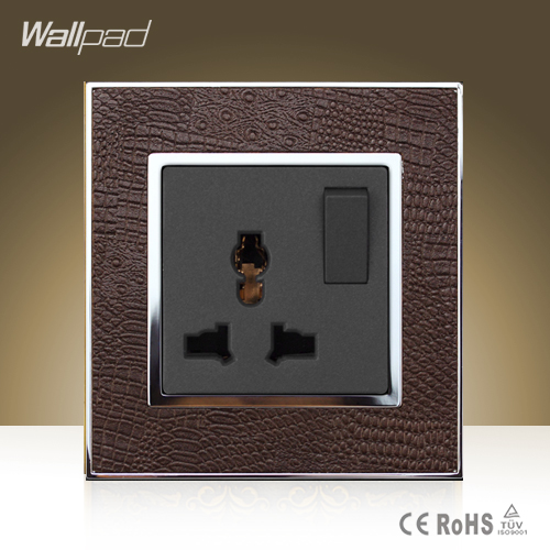Wallpad Hotel Universal Switched Socket Goats Brown Leather Frame AC 110V-250V 1 Gang 1 Way and Universal Socket, Free Shipping wallpad luxury double 13 a uk switched socket goats brown leather 1 gang switch and 13a wall socket with neon free shipping