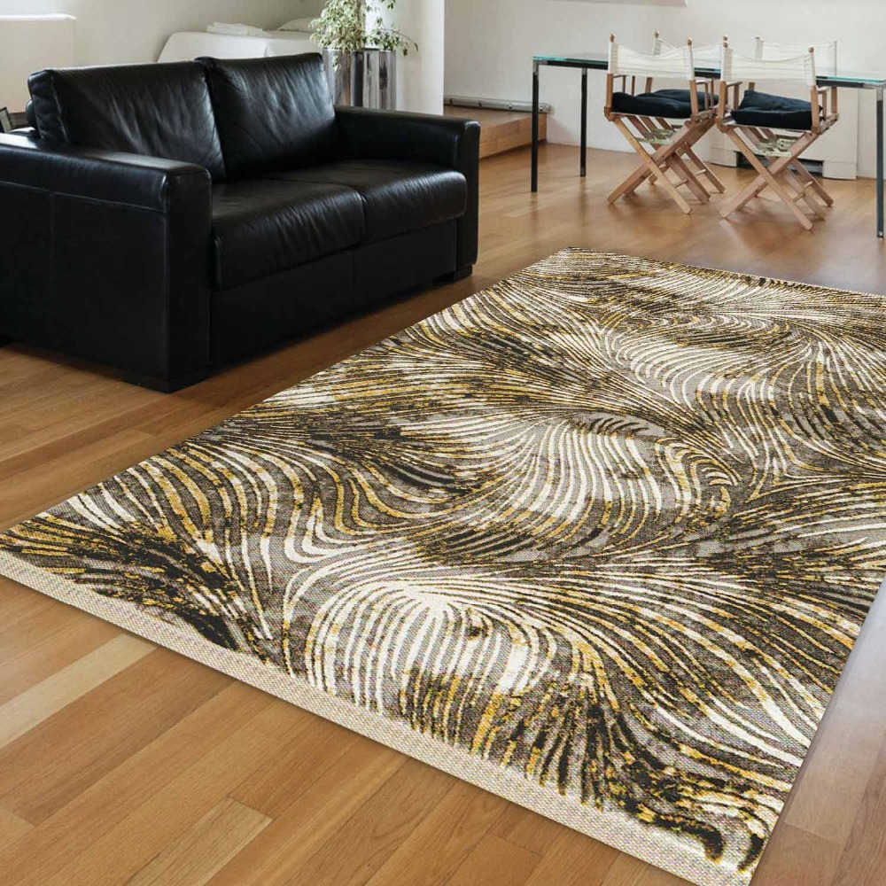 Else Yellow Brown White Wave Lines Vintage Retro Aging 3d Print Anti Slip Kilim Washable Decorative Area Rug Bohemian Carpet