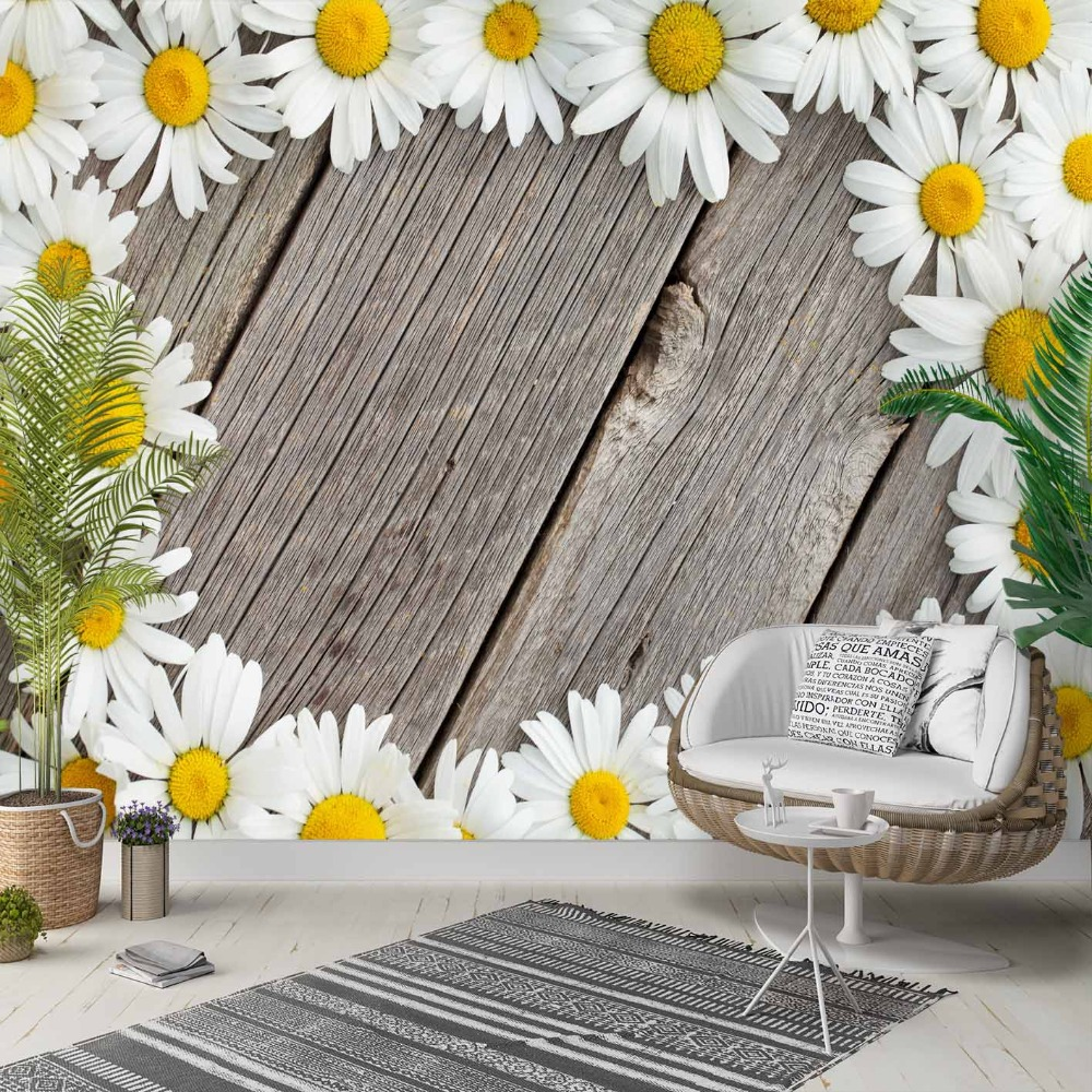 Else Gray Wood On White Yellow Daisy Flowers 3d Photo Cleanable Fabric Mural Home Decor Living Room Bedroom Background Wallpaper