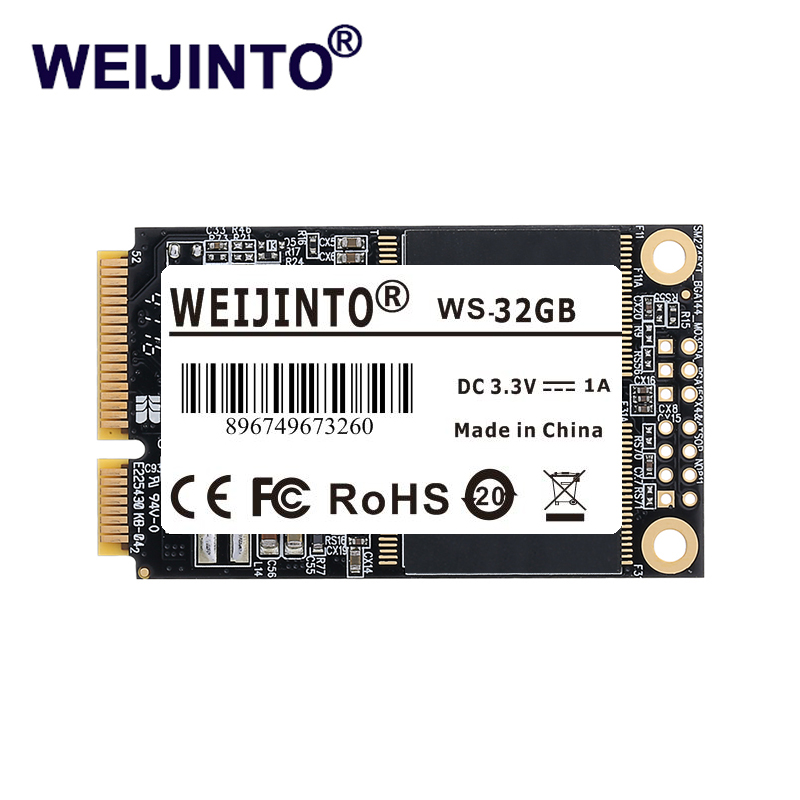 WEIJINTO 1-10pcs mSATA SSD 32GB Mini SATA Solid State Drive Hard Disk Disc Msata 32GB For Laptop Server