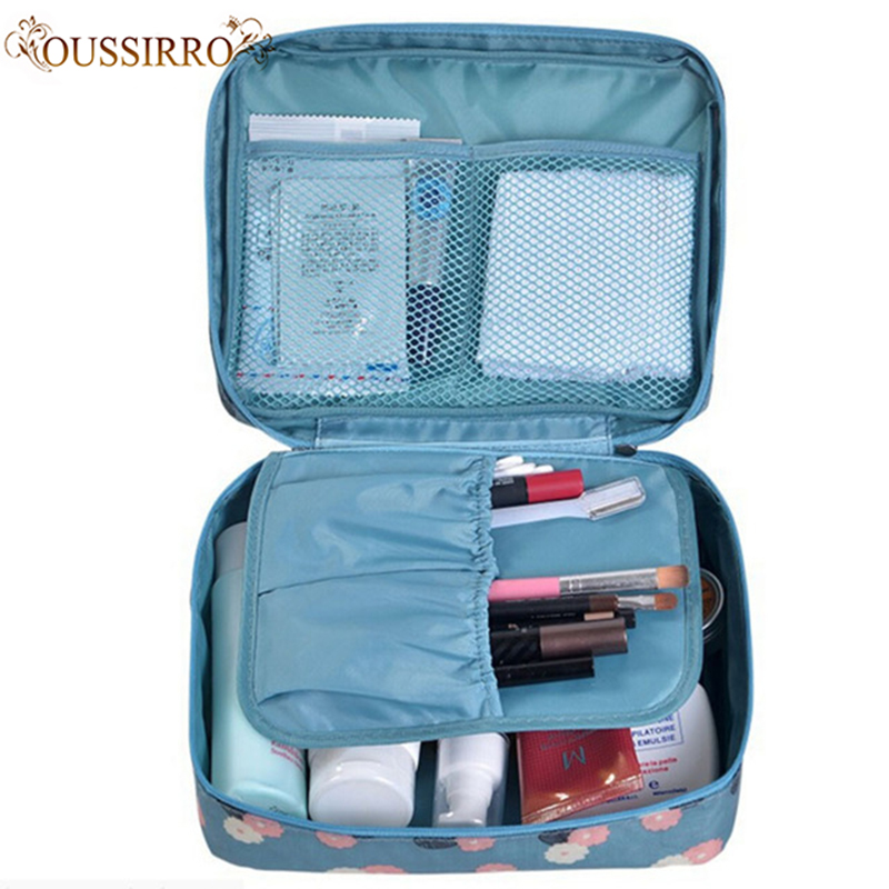 Fashion Women Travel Nylon Beauty Makeup Bags Bathroom Organizer Of Portable Bath Hook Washing Up Bag Water-proof Cosmetics Bags
