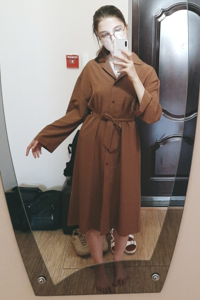 Ladies Commute Casual Shirt Dress Summer Autumn Notched Collar Long Sleeve Sashed Single Breasted Solid Women Dresses photo review