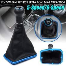 5 6 Speed Car Gear Shift Knob with Collars Gear Shift Gaiter Boot Blue Frame for Volkswagen /VW MK4 Golf 4 IV GTI R32 Jetta Bora