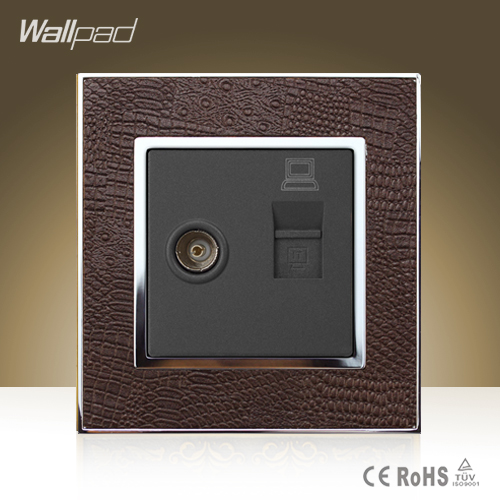 New Arrival Wallpad Hotel TV RJ45 Socket Goats Brown Leather Cover Television Internet Data Jack Wall Socket  Free Shipping ruru15070 to 218