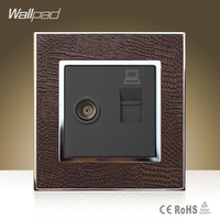 New Arrival Wallpad Hotel TV RJ45 Socket Goats Brown Leather Cover Television Internet Data Jack Wall